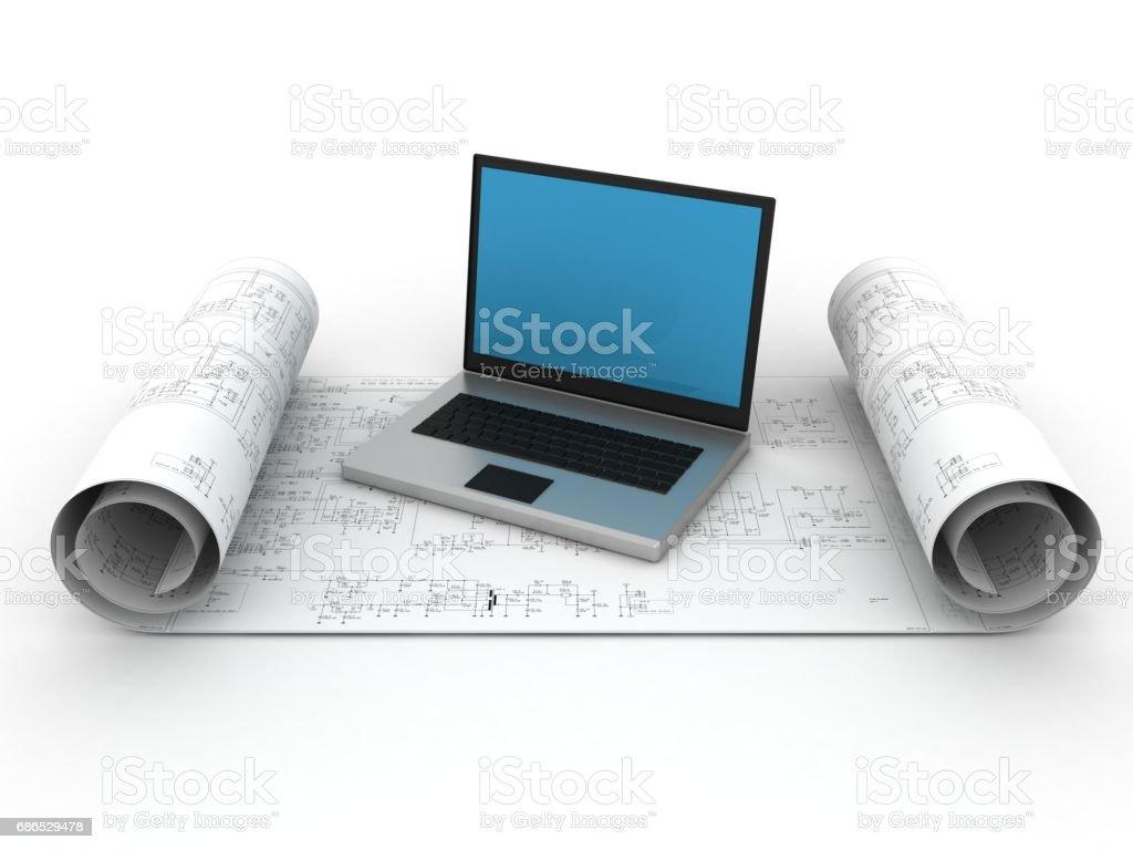 Computer software plan blueprint concept foto stock royalty-free