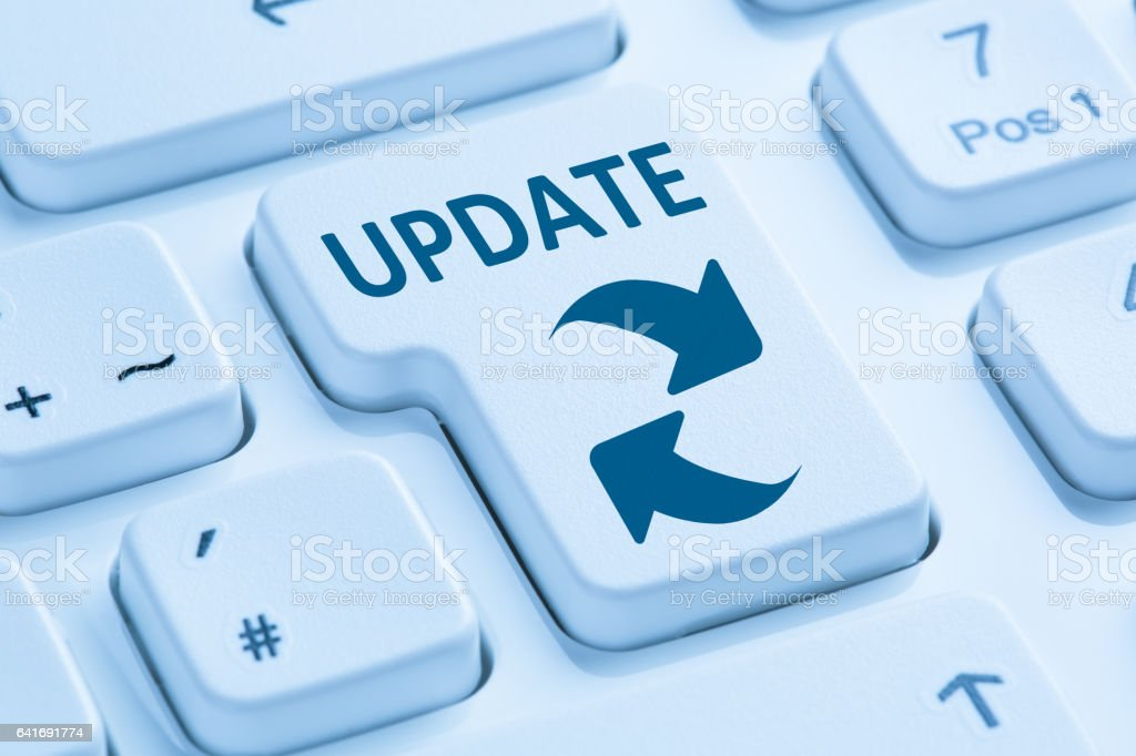 Computer software update network security virus blue keyboard stock photo