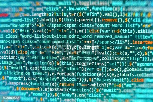 istock Computer source code programmer script developer. 503559648