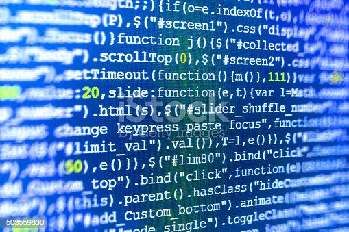 istock Computer source code programmer script developer. 503559830