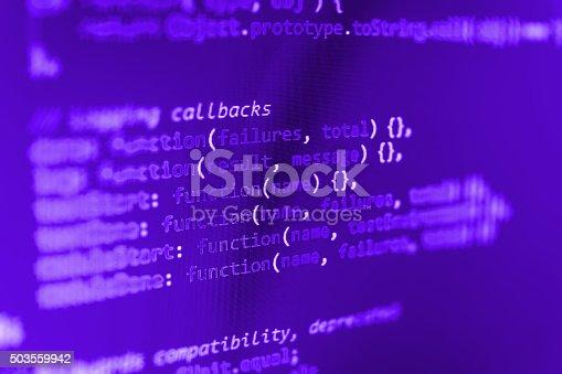 istock Computer source code programmer script developer. 503559942