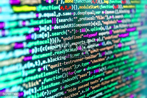 istock Computer source code programmer script developer. 507377902