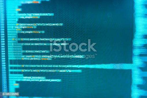 istock Computer source code programmer script developer. 516623586