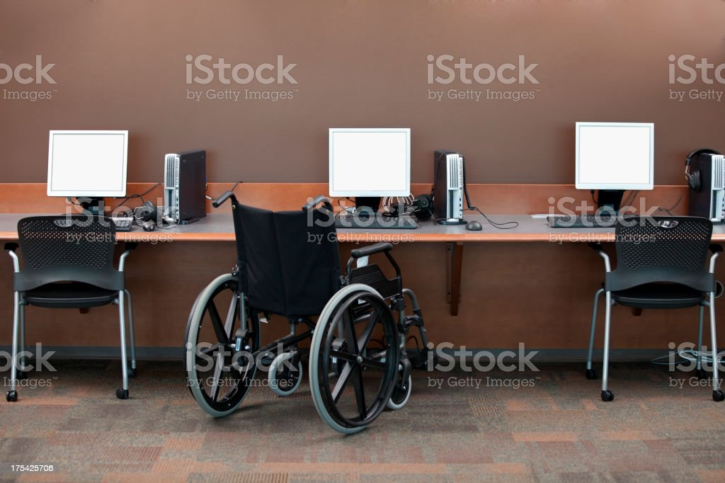 Computer Stations Wheelchair Access stock photo