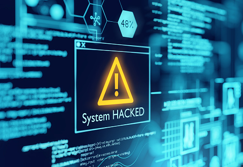 A computer popup box screen warning of a system being hacked, compromised software enviroment. 3D illustration.
