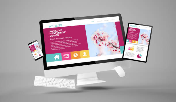 computer, tablet and smartphone gravity showing awesome responsive website stock photo