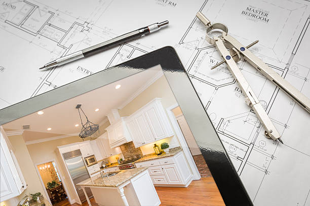 computer tablet showing finished kitchen on house plans, pencil, - customize stock pictures, royalty-free photos & images