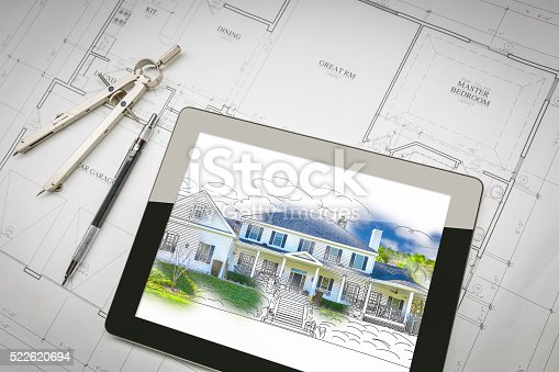 534196421 istock photo Computer Tablet Showing House Illustration On House Plans, Penci 522620694