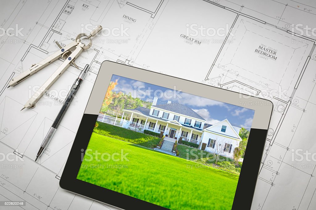 Computer Tablet Showing House Image On House Plans, Pencil, Comp stock photo