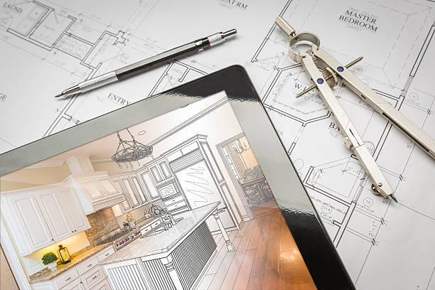 tablet computer mit küche abbildung auf haus pläne, stift - küche neu gestalten ideen stock-fotos und bilder