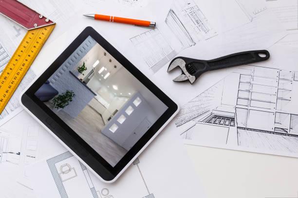 dator tablett med master badrum design over house planer, penna och kompass - husutbyggnad bildbanksfoton och bilder