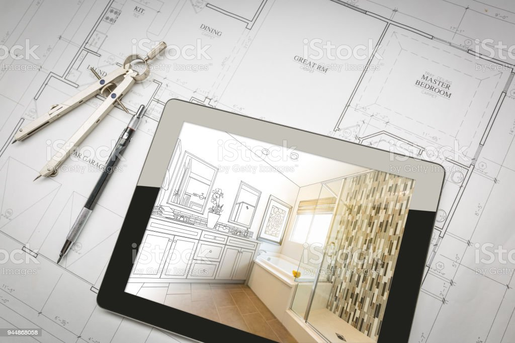 Computer Tablet with Master Bathroom Design Over House Plans, Pencil and Compass. stock photo