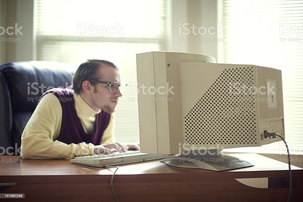 Computer Tech Nerd in Office stock photo