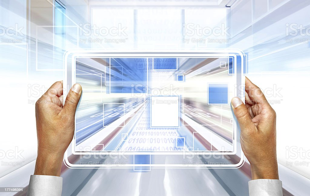 computer technology in hands royalty-free stock photo