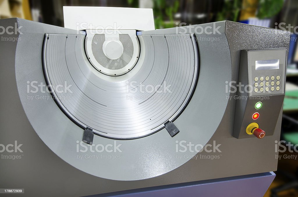 Computer to plate (CTP) drum, automatic print material development stock photo