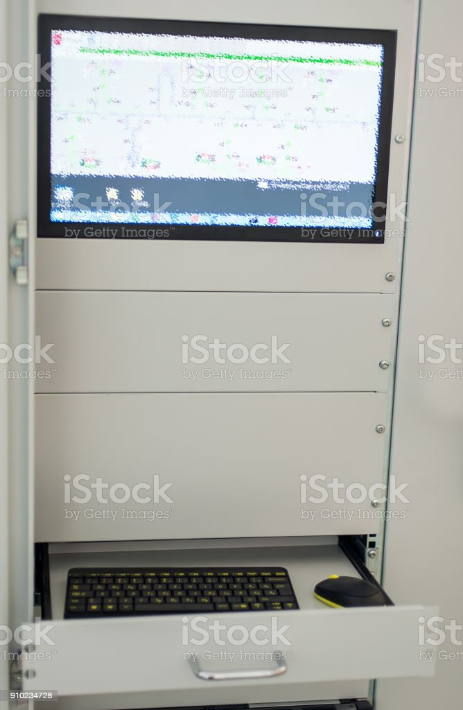 Computer unit on relay protection system. Bay control unit stock photo