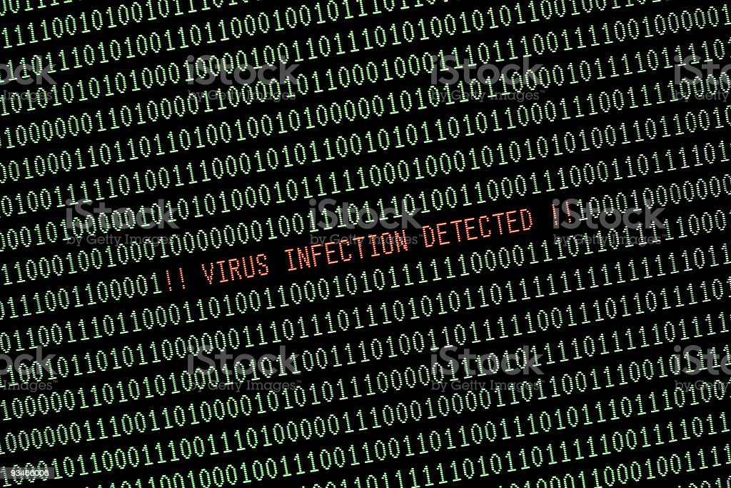 Computer Virus Alert Message On Monitor Screen Green And Red royalty-free stock photo