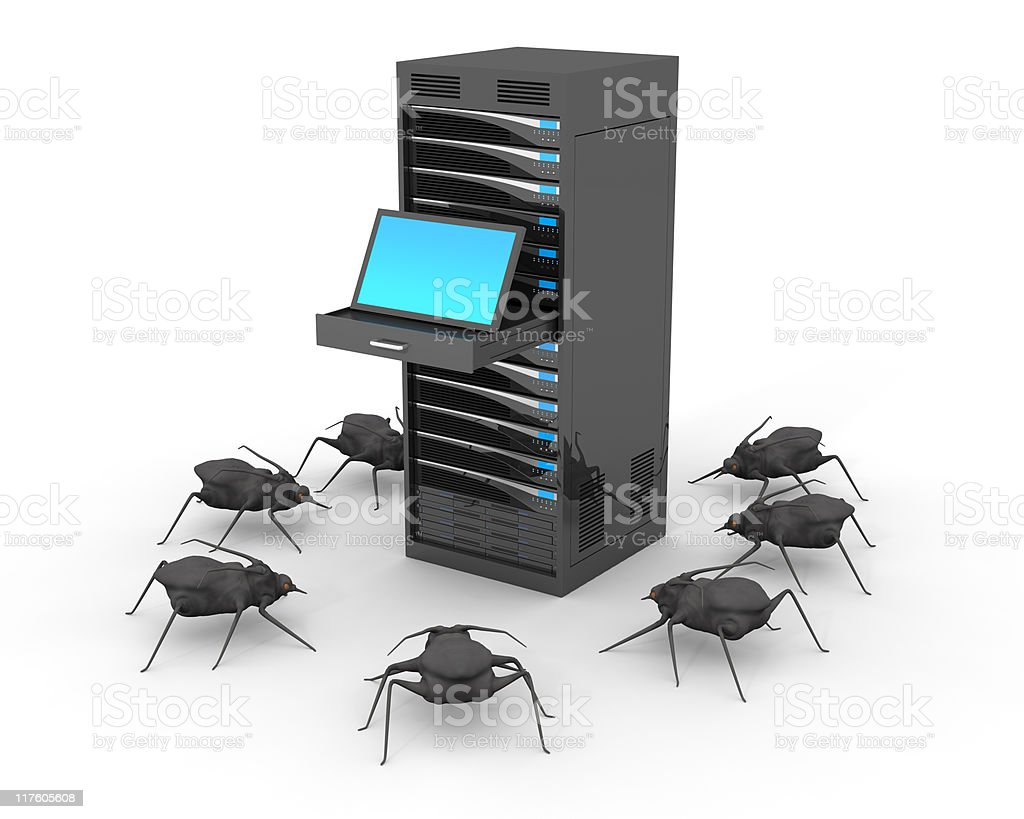 Computer Virus and Server royalty-free stock photo