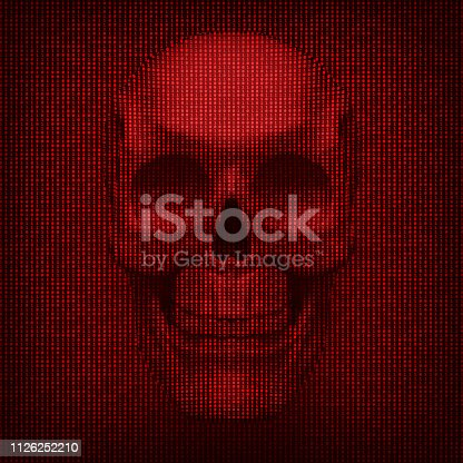 Binary codes and skull. Abstract conceptual background for computer security risks.