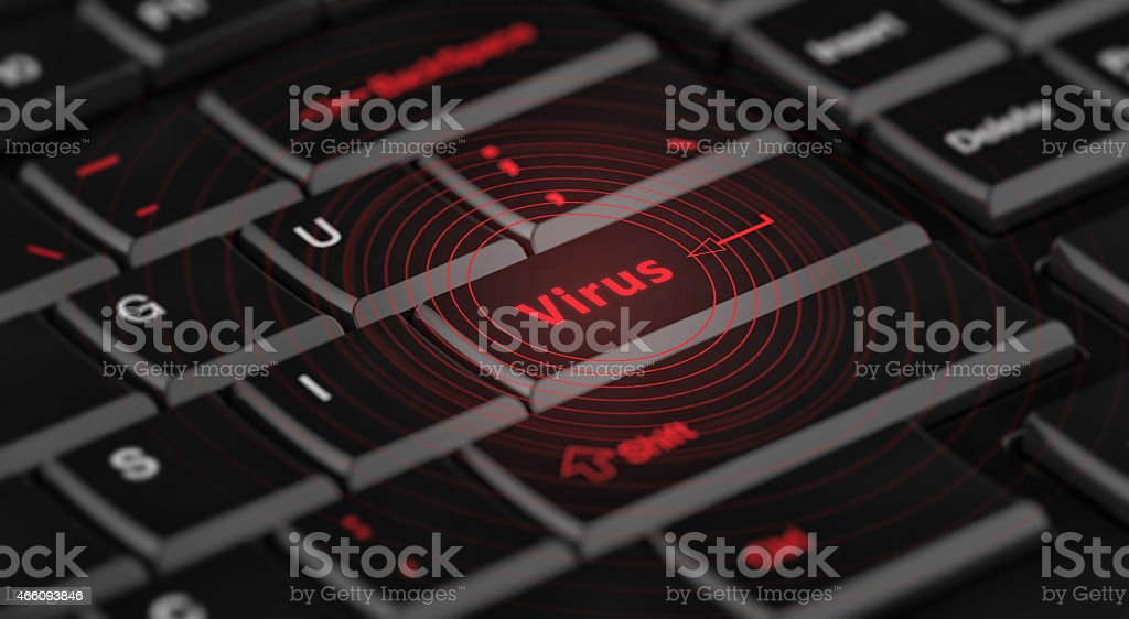 computer virus from internet with message on enter key stock photo