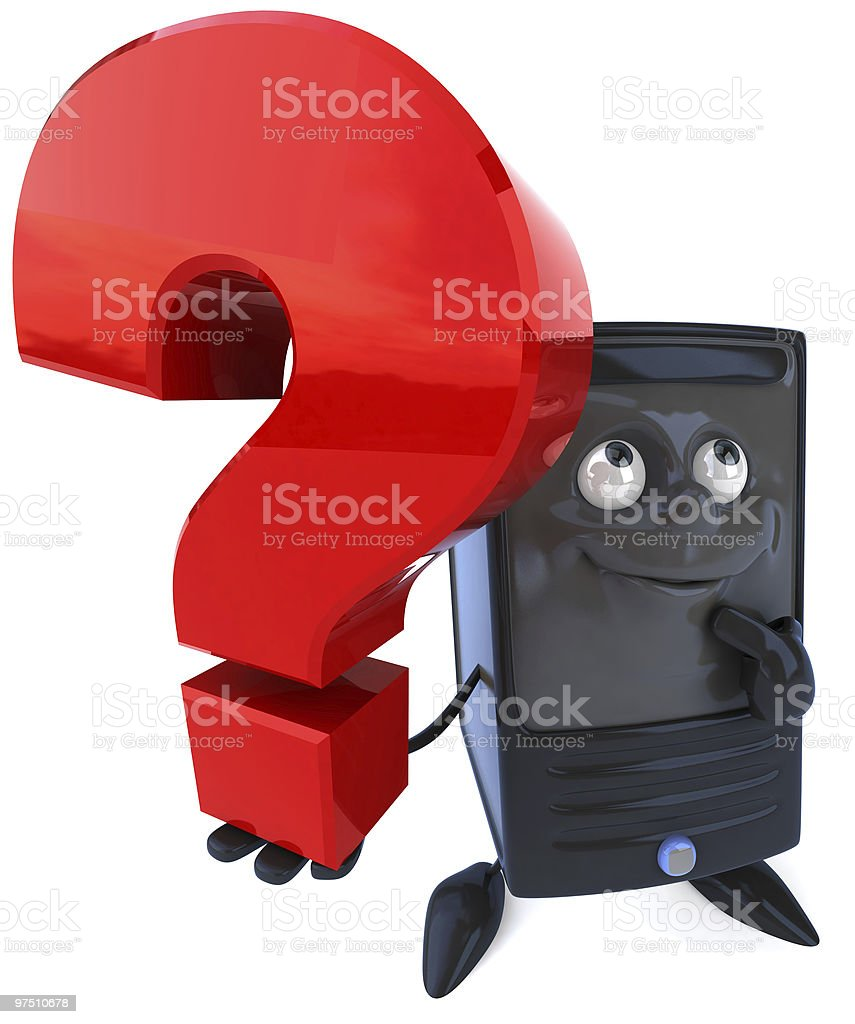 Computer with a question royalty-free stock photo