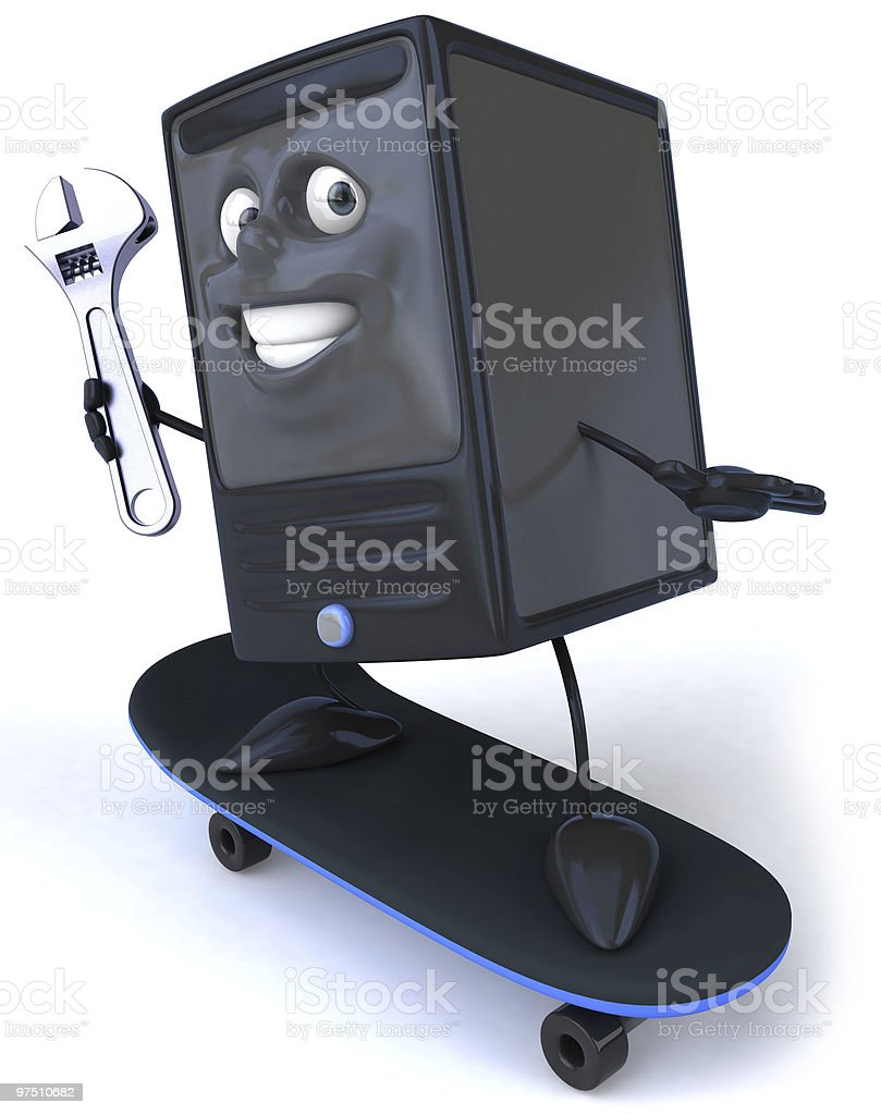 Computer with a wrench royalty-free stock photo