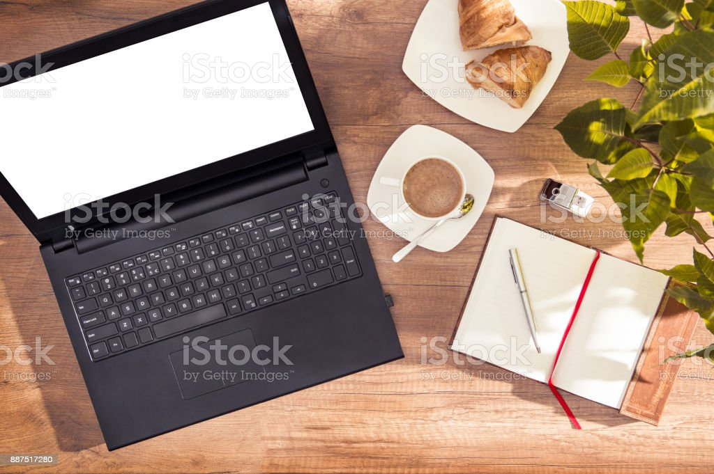 Computer with empty space for your text stock photo