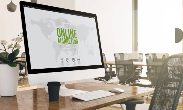 computer with online marketing screen on modern business office mockup - micrografia elettronica a scansione foto e immagini stock