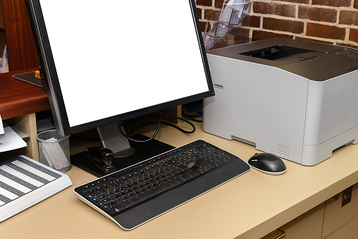 Computer With Printer On Desk In Office Stock Photo Download Image Now Istock