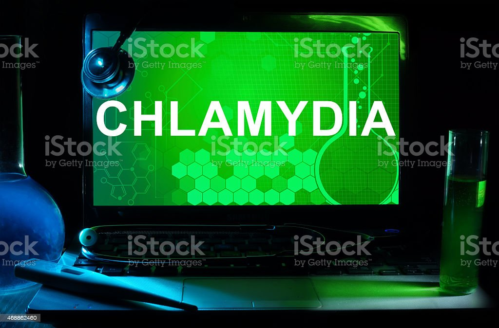 Computer with words Chlamydia. Medical concept. stock photo
