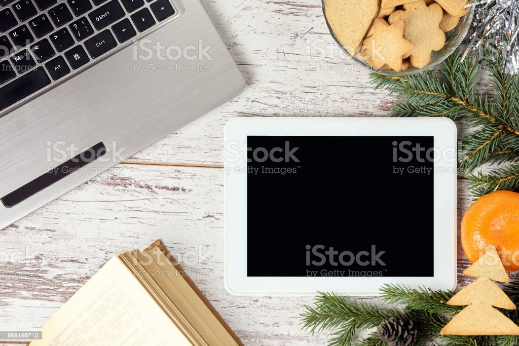 Computer work. Business. New Year. Modern technology stock photo