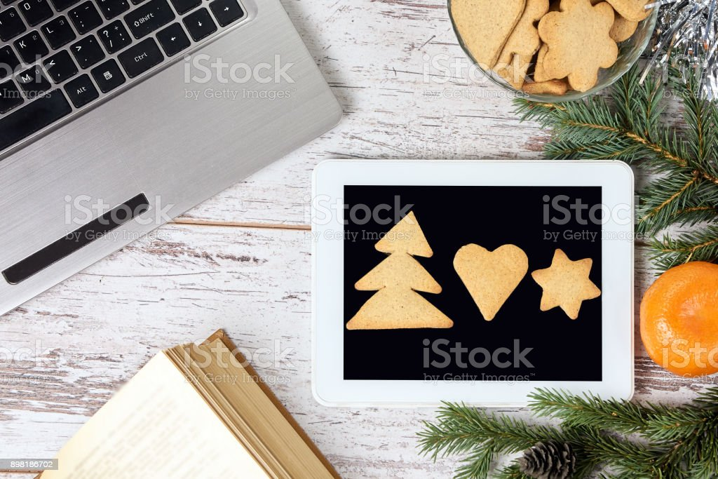 Computer work. New Year. Modern technology. Business stock photo