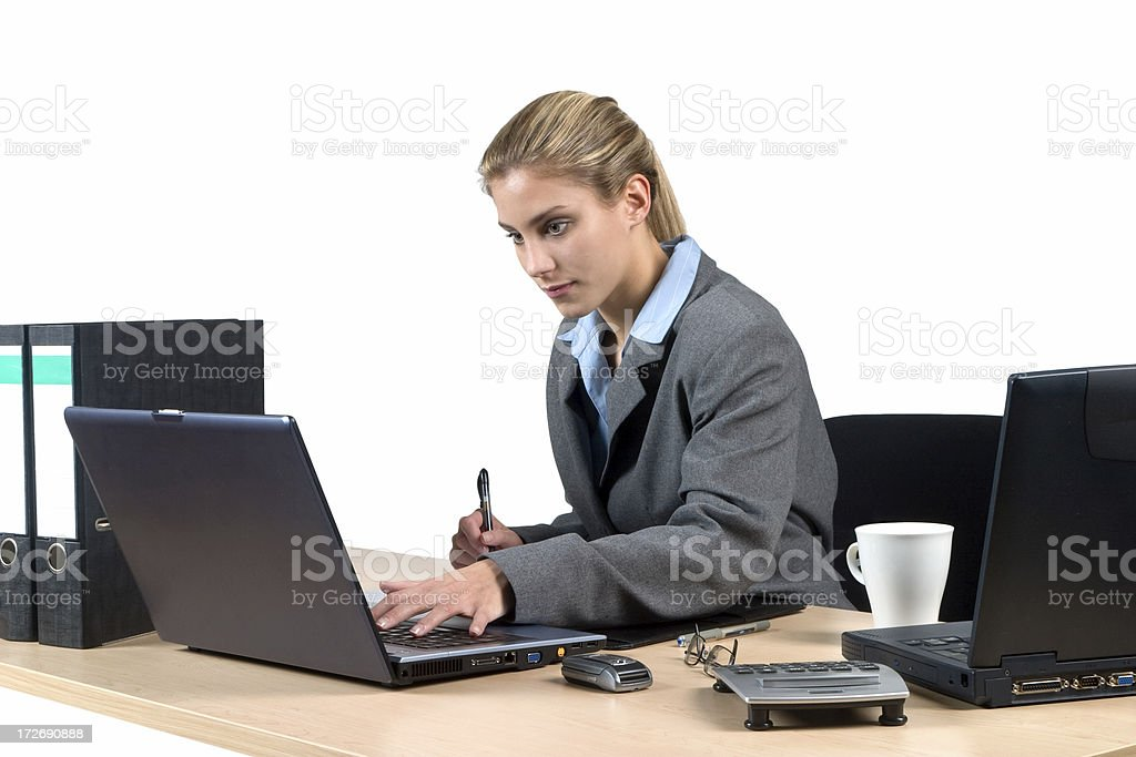 Computer work, office scene royalty-free stock photo