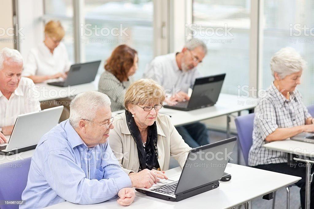 Computer workshop for seniors stock photo