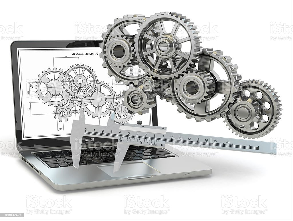 Computer-design engineering. Laptop,  gear, trammel and draft. royalty-free stock photo