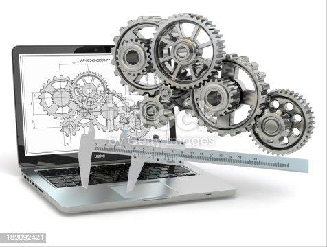 istock Computer-design engineering. Laptop,  gear, trammel and draft. 183092421