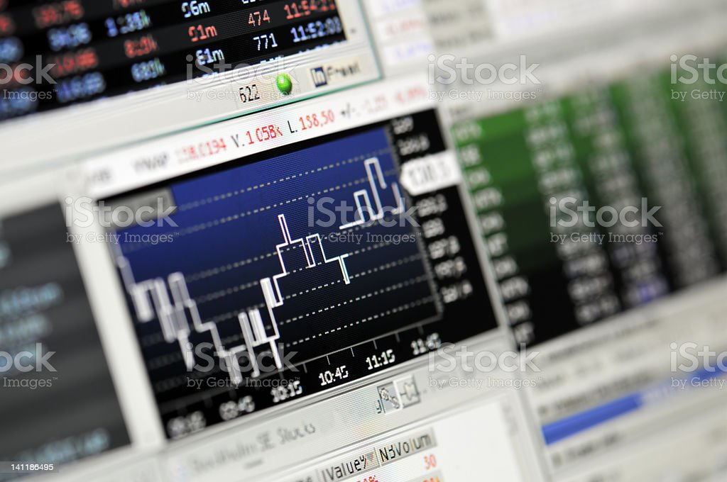 Computerized market results on computer network displays royalty-free stock photo