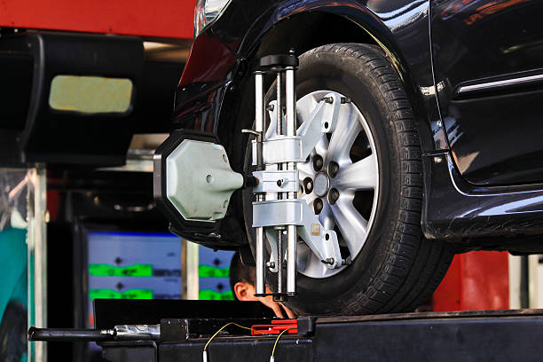 computerized wheel alignment machine clamp Car wheel fixed with computerized wheel alignment machine clamp. order stock pictures, royalty-free photos & images