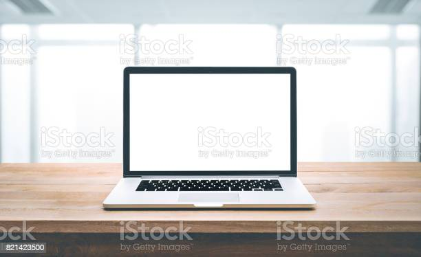Computerlaptop with blank screen on wood table with office picture id821423500?b=1&k=6&m=821423500&s=612x612&h=zy5vxekpy6ioo72yjlkjrjr2ydeood ampaupgntnc4=