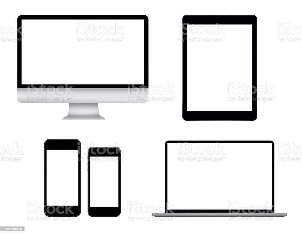 Computers and smart phones stock photo