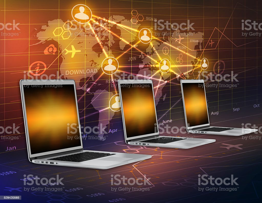 Computers on a background map of the world and people stock photo