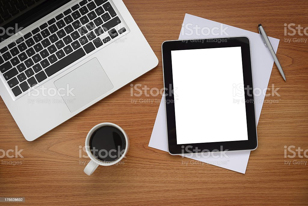 Computers on office desk royalty-free stock photo