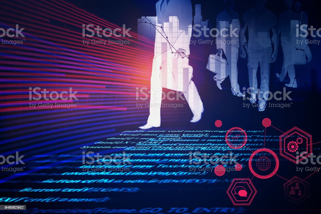 Computing and meeting concept stock photo