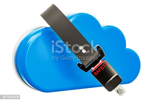 istock Computing cloud with safety belt. Security and protection concept, 3D rendering 921302026
