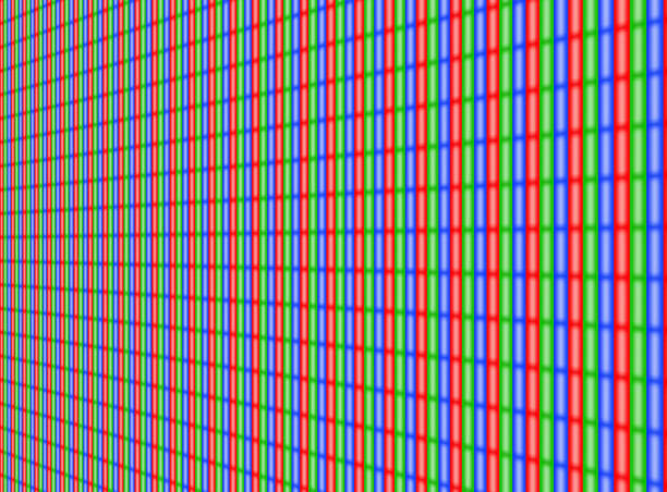 RGB TV Comuter Screen dots seamless pattern. Analog display television. Micro LED Angle. stock photo