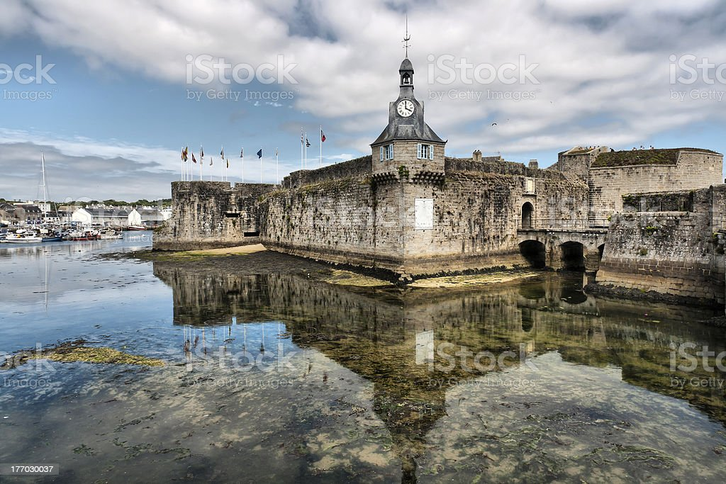 Concarneau (Brittany) - Old village with low tide royalty-free stock photo