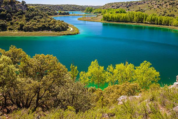 lagoa conceja, parque natural de ruidera, castilla la mancha (espanha) - laguna - fotografias e filmes do acervo