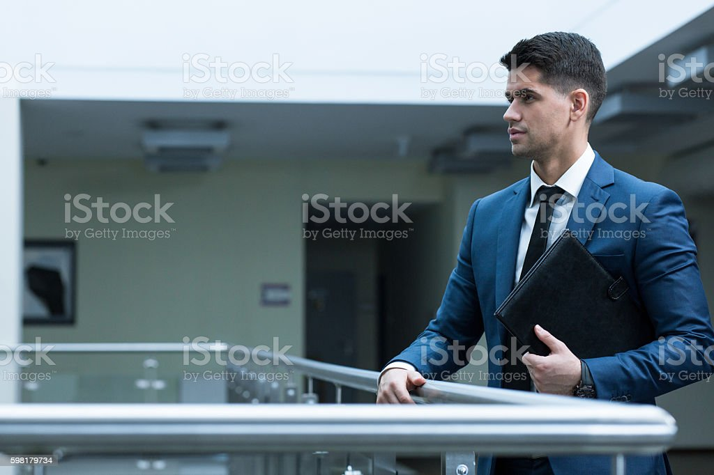 Concentrated before the negotiations stock photo