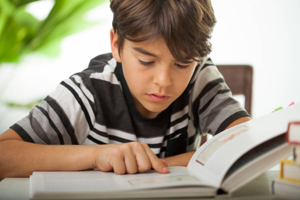 concentrated boy reading a book stock photo