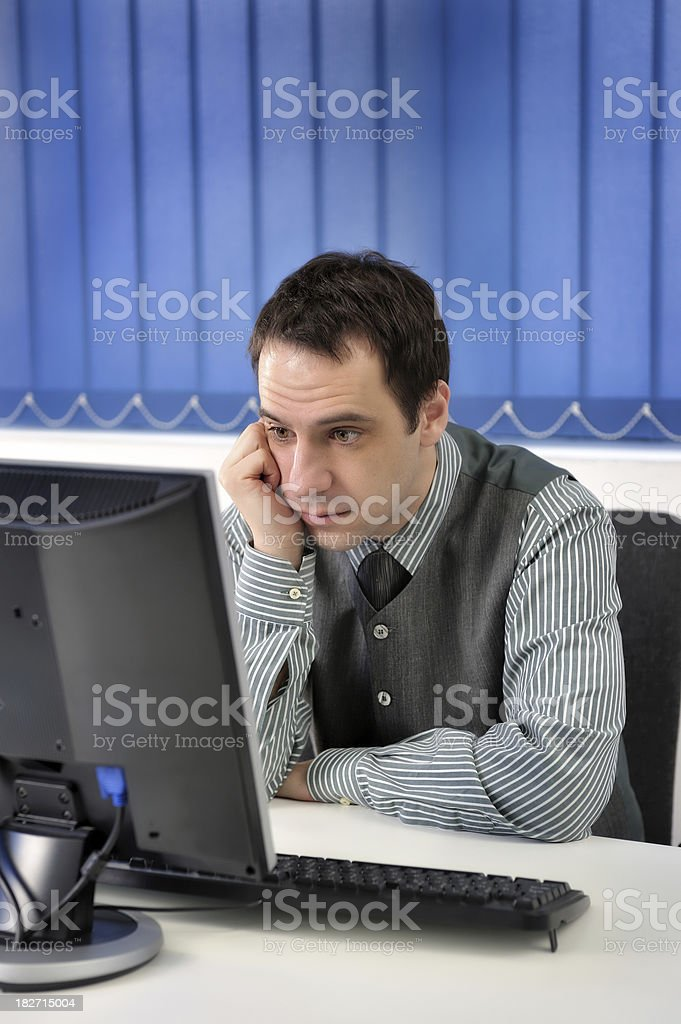 Concentrated businessman royalty-free stock photo